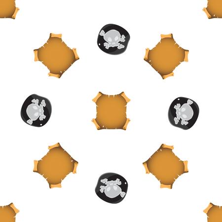 Modèle sans couture avec l'image d'une étiquette noire de pirate et de papier vintage.