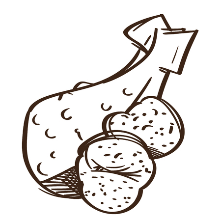Chicken leg with baked potatoes on a white background. Fast food. Illustration