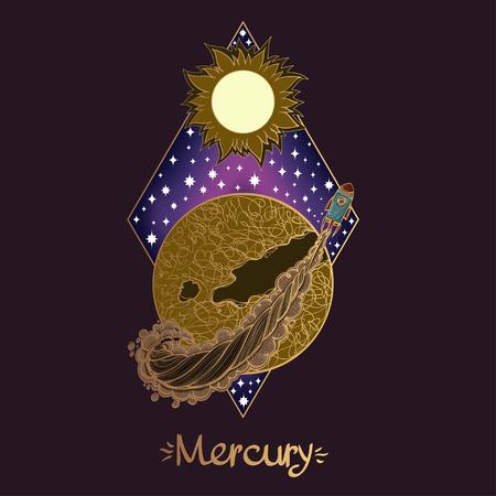 Paisaje del planeta. Rombo. Ilustración de vector de mercurio
