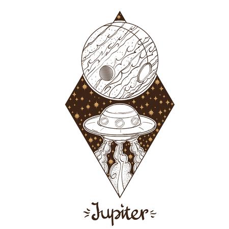 Landscape of planet. Rhombus. Jupiter. Vector illustation