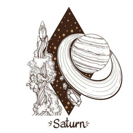 Landscape of planet. Rhombus. Saturn. Vector illustration.