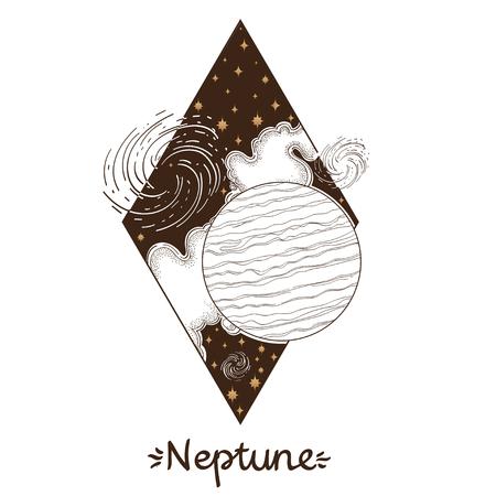 Landscape of planet. Rhombus. Neptune Illustration