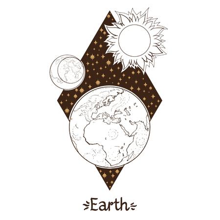 Landscape of planet. Rhombus. Earth. Vector illustration