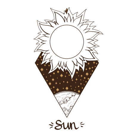 Landscape of planet. Rhombus. Sun. Vector illustration Illustration