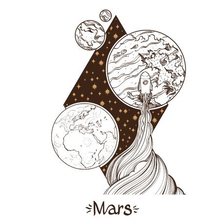 Landscape of planet. Rhombus. Mars Illustration