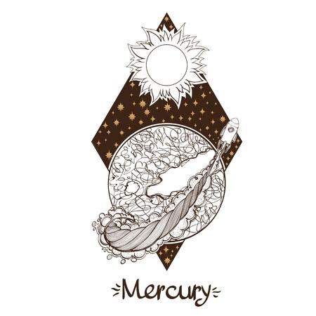 Landscape of planet. Rhombus. Mercury.