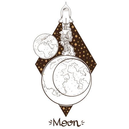 Landscape of planet. Rhombus. Moon. Illustration
