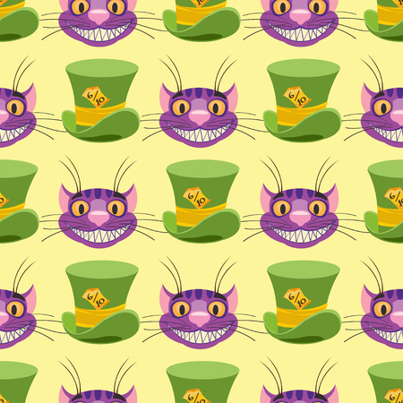 Cheshire cat and Hat. Seamless pattern can be used for wallpaper, pattern fills, web page background, surface textures. Ilustração