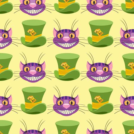 Cheshire-Katze und Hut. Nahtloses Muster kann für Tapeten, Musterfüllungen, Webseitenhintergrund, Oberflächenstrukturen verwendet werden.