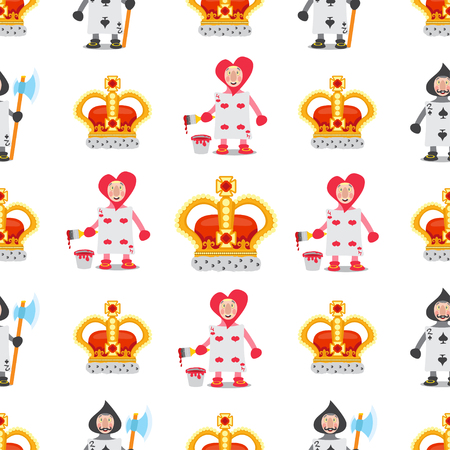 Set of illustrations on the theme of fairy tale Alice's Adventures in Wonderland. Cards and crowns. Seamless pattern can be used for wallpaper, pattern fills, web page background, surface textures.