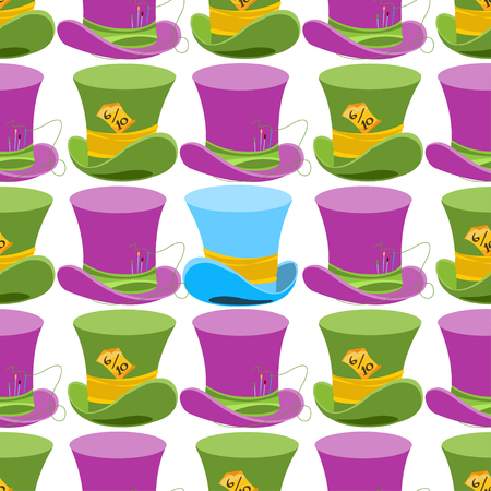 Hatter's Hat from Wonderland World. This way - that way. Seamless Vector Texture Can Be Used for Wallpapers, Pattern Fills, Web Page Backgrounds, Surface Textures.