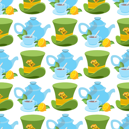 Hat and teapot from Wonderland World. This way - that way. Seamless Vector Texture Can Be Used for Wallpapers, Pattern Fills, Web Page Backgrounds, Surface Textures.