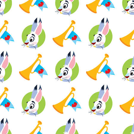 Vector pattern with rabbits and horn. Seamless pattern can be used for wallpaper, pattern fills, web page background, surface textures. Ilustracja