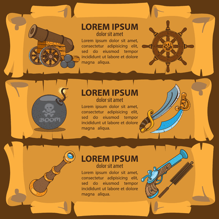 Set of banners imitating ancient papyrus. Three scroll to design a pirate parties, casino, games or mobile applications.