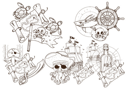 Set of black and white illustrations for coloring outline of pirated items.