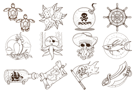 Set outline illustrations for coloring on the theme of pirates and marine inhabitants. Cartoon cute animals and objects. Gambling attributes