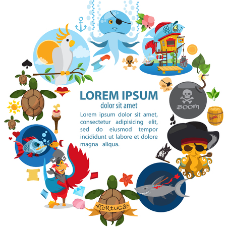 The round frame on the pirate theme. Hilarious characters in cartoon style for design of children's games and a variety of goods.