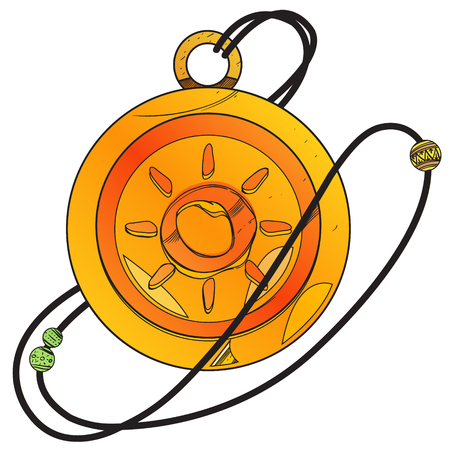 Magic Round Locket. Illustration for gaming mobile applications. Stok Fotoğraf - 124381170