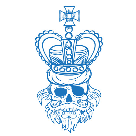 Hairy pirate skull in the royal crown outline tattoo Gold cro. Sticker for gaming mobile applications.
