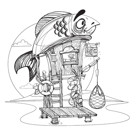 House fisherman. Cartoon illustration of a wooden hut on stilts near the river. Drawing for gaming mobile applications. Illustration for coloring.