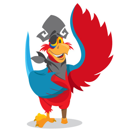 Parrot in a pirate hat and eye patch. Cartoon illustration for gaming mobile applications.