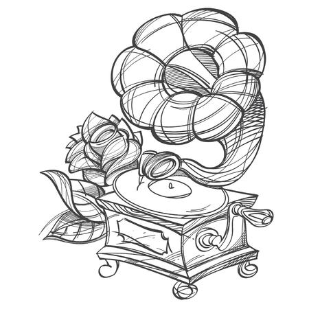 Grammophon. Altes Musikinstrument. Vintage Haushaltsgegenstände. Cartoon-Zeichnung für mobile Spieleanwendungen. Abbildung zum Ausmalen.