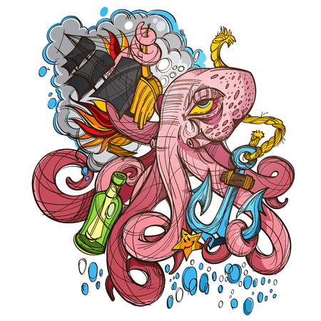 Octopus, a ship and a frigate anchored sketch of a tattoo. Illustration for design t-shirts and other items. Sea monster sticker.