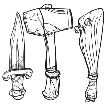 Dagger, hammer and baseball bat. Cartoon drawing for gaming mobile applications. Illustration for coloring.
