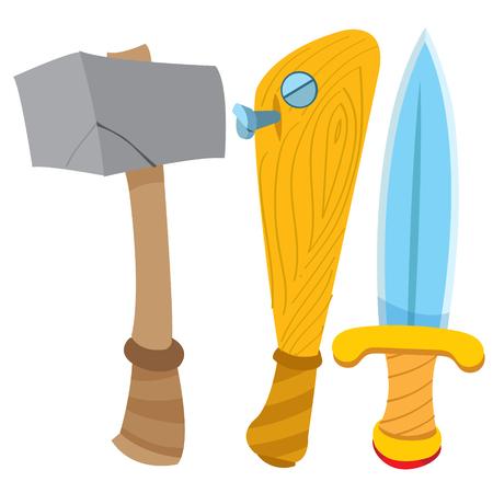 Dagger, hammer and baseball bat. Cartoon drawing for gaming mobile applications. Ilustração