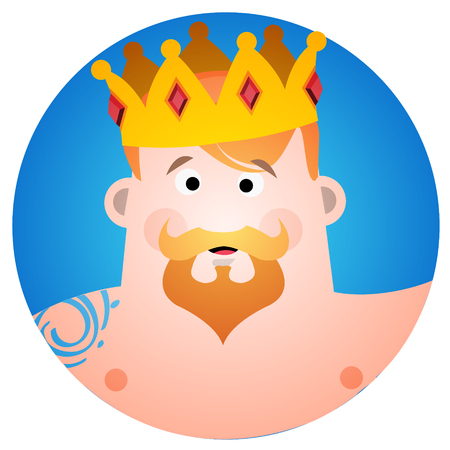 Round sticker with a man in the crown. Cartoon illustration for gaming mobile applications and for design t-shirts and other items.