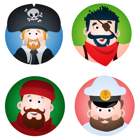 Set of four round of avatars with a picture of pirates and sailors. The pirate, sailor, fisherman and captain. Cartoon illustration for gaming mobile applications. Vector Illustration