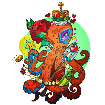 Octopus in the Crown with the red rose sketch of a tattoo. Illustration for design t-shirts and other items. Sea monster sticker.