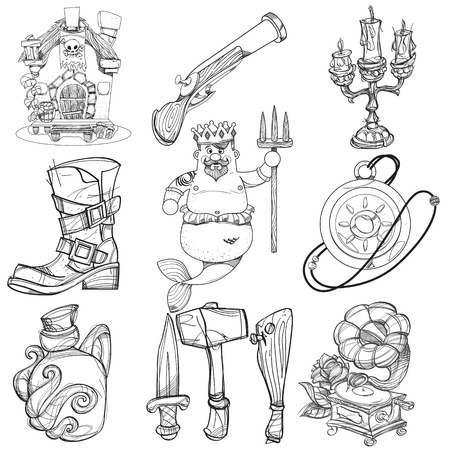 Set illustrations with pirate attributes. Various items Medieval Pirates. Cartoon drawing for gaming mobile applications. Illustration for coloring. Banque d'images - 119060516