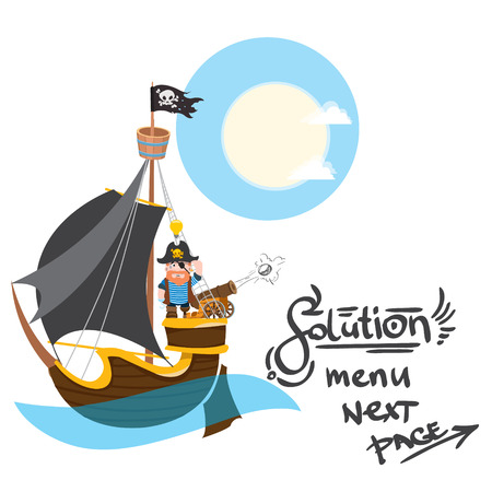 Caricature illustration with the image of a pirate on the ship.