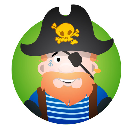 Round sticker with the image of a fun pirate in a cocked hat and eye patch. Cartoon illustration for gaming mobile applications and for design t-shirts and other items. Avatar pirate. Vector Illustration