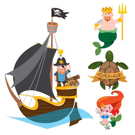 Set of labels for design items with a pirate theme. Cartoon illustration for gaming mobile applications. Pirate Frigate and fantastic sea inhabitants.
