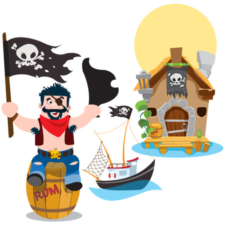 A set of illustrations on the pirate theme. A man sitting on a wooden barrel and holds the Jolly Roger and tricorne. Small fishing boat from the old hut. Illustration