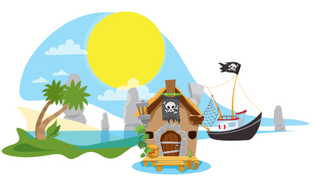 A set of illustrations on the pirate theme. Small fishing boat from the old hut.