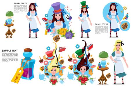 Cappello blu con nastro grigio. Illustrazione per la fiaba Le avventure di Alice nel Paese delle Meraviglie.