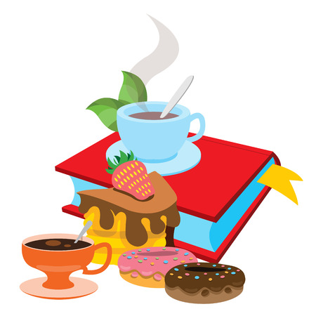 Book, cup of tea, donuts. Colored illustration for design cafeteria, restaurants, bakeries and cafes.
