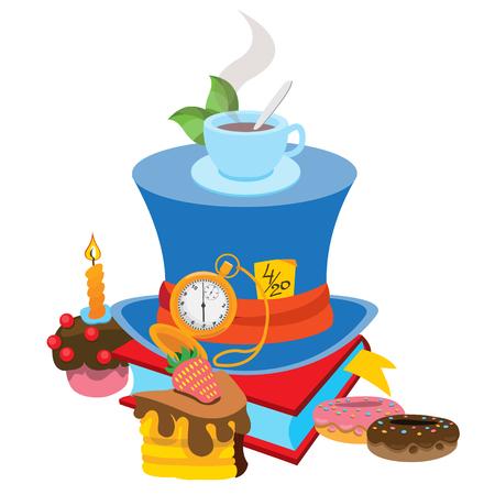 Blauer Hut mit grauem Band. Illustration zum Märchen Alice's Adventures in Wonderland.