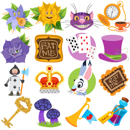 Set of illustrations on the theme of fairy tale Alice's Adventures in Wonderland. Characters and objects.