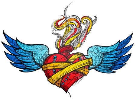 Eine Skizze einer Tätowierung. Herz mit Flügeln und Blumen farbige Abbildung.