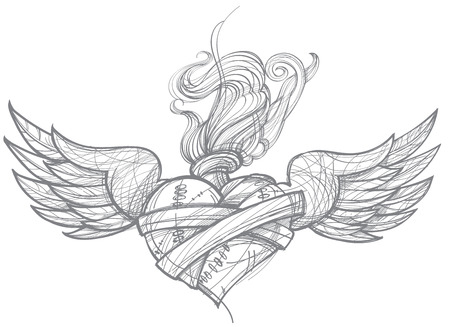 A sketch of a tattoo. Heart with wings and flowers. Drawing for coloring.