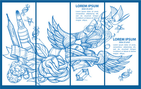 A set of four banner templates. Envelope, pencil, donuts, marker, heart with wings and flowers. Drawing for coloring.