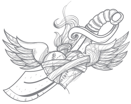 A sketch of a tattoo. Heart with wings and a sword. Drawing for coloring.