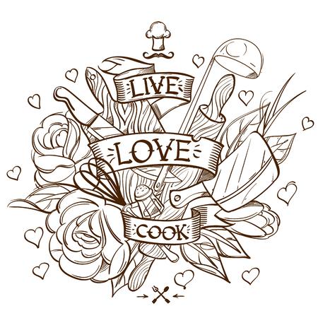 Dessin de contour avec l'image d'objets de cuisine. Un croquis d'un tatouage. Vecteurs