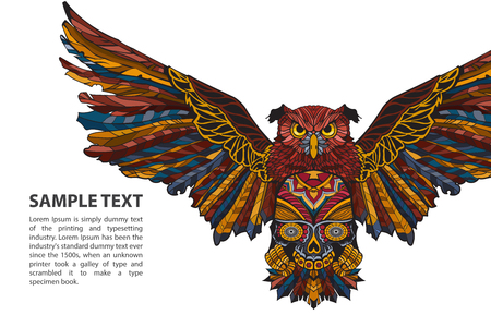 Patterned vector owl on white background with place for text
