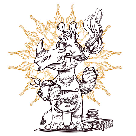 Vector cute rhinoceros standing and smoking cigarette