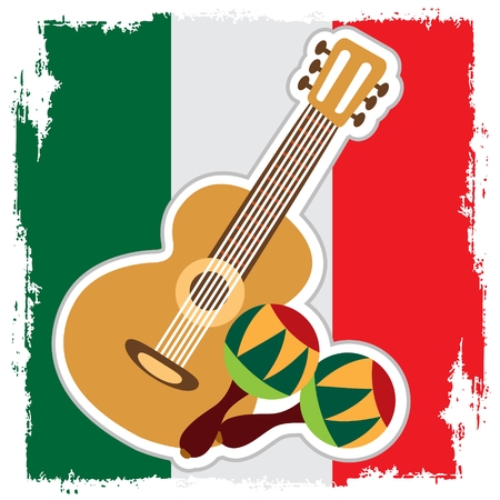 Guitar, maracas on the background of the Mexican flag